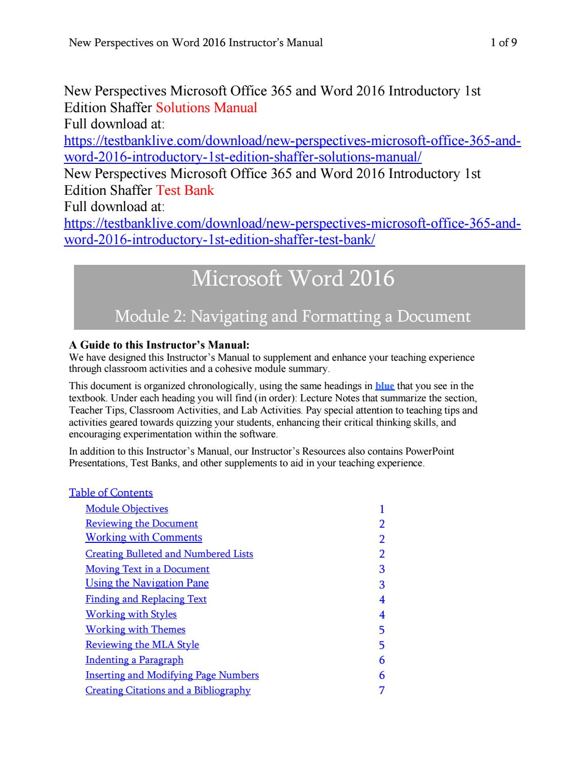 new perspectives microsoft office 365 and word 2016 introductory 1st edition shaffer solutions manua by luin192 issuu