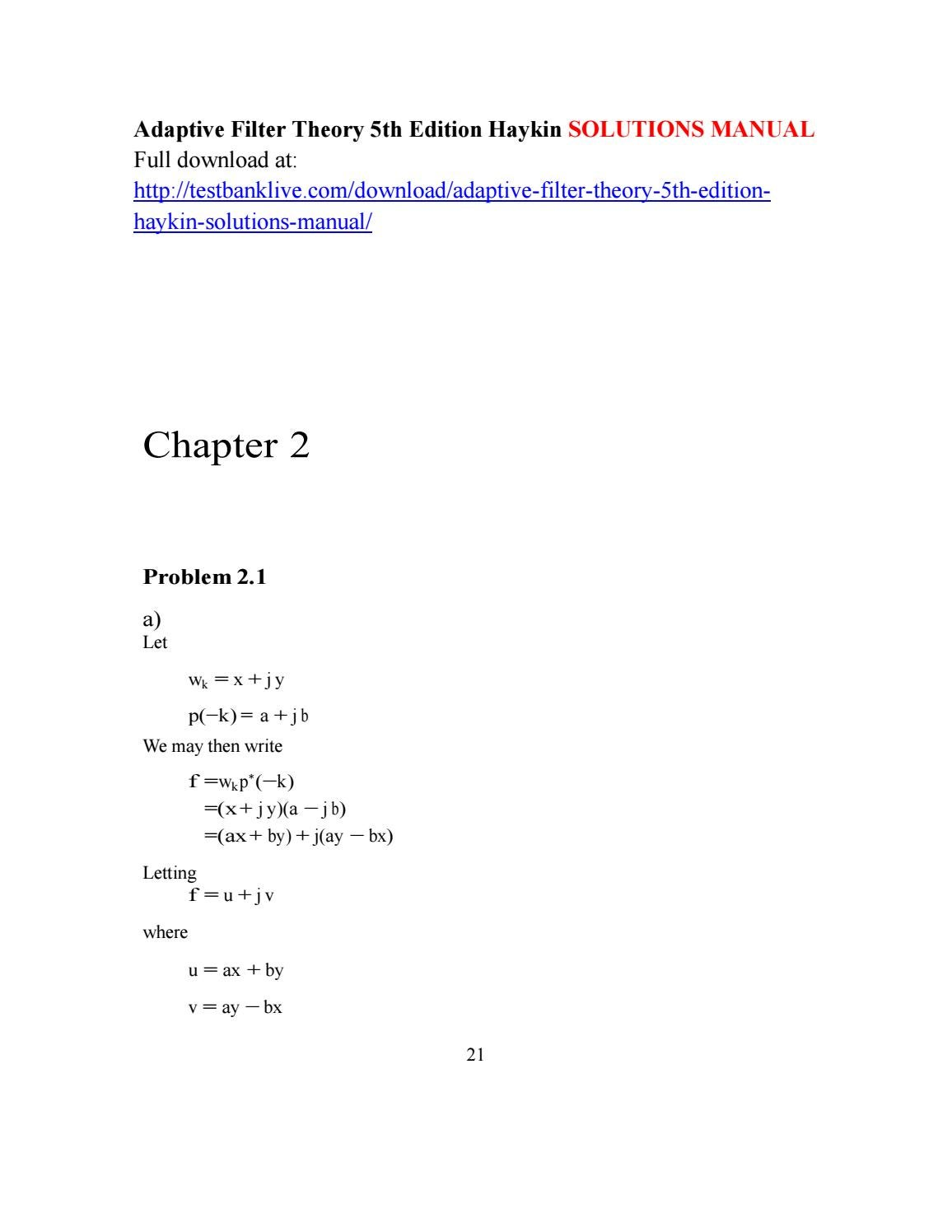 Adaptive Filter Theory 5th Edition Haykin Solutions Manual By Steelshot Issuu