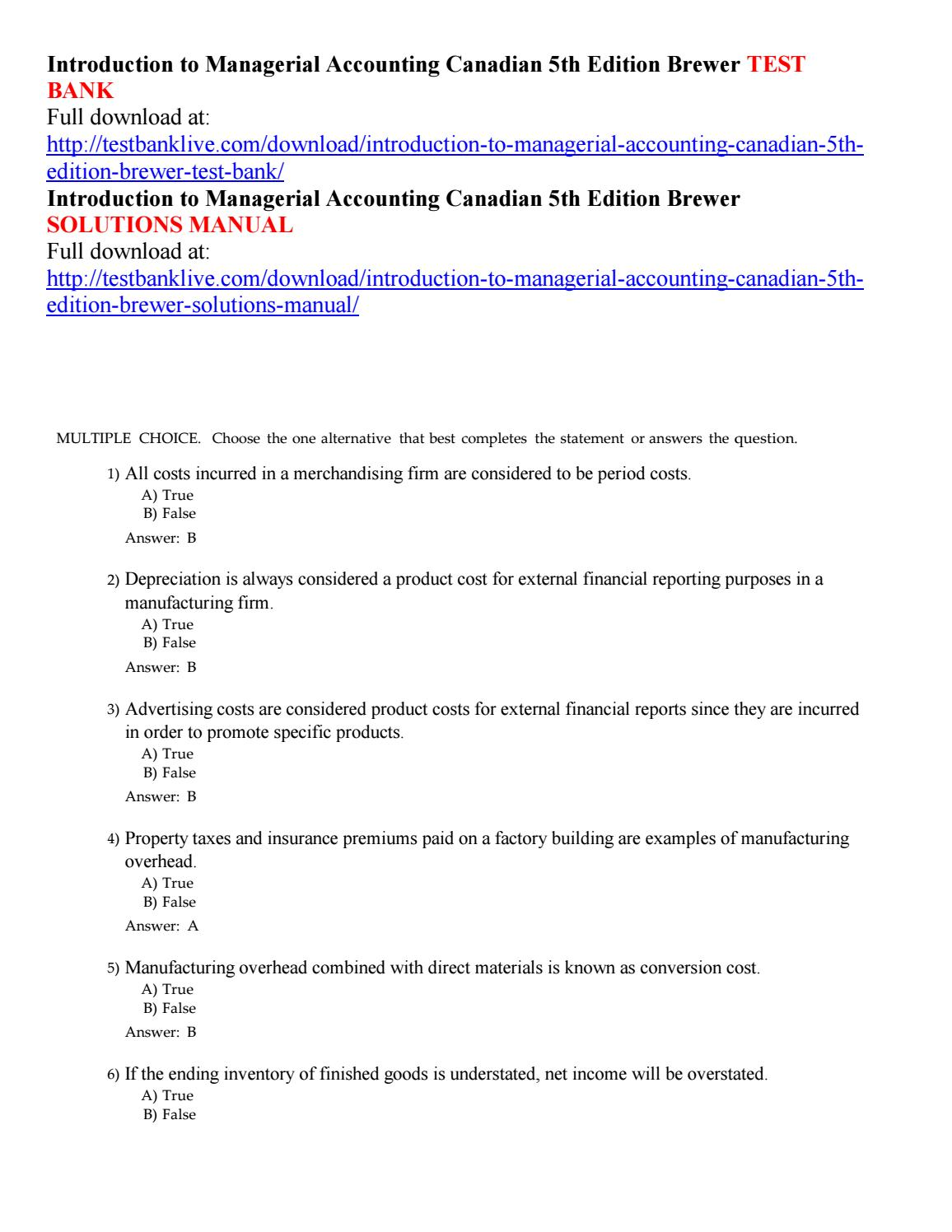 Introduction to managerial accounting canadian 5th edition brewer test bank  by Trixie5555 - issuu