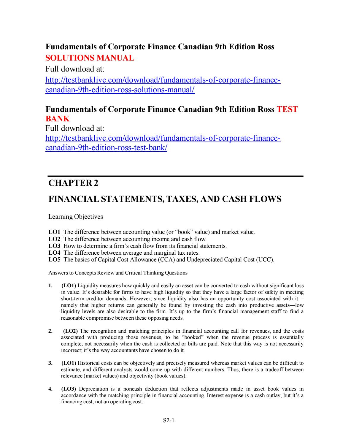 Fundamentals of corporate finance canadian 9th edition ross solutions manual  by Demented - issuu