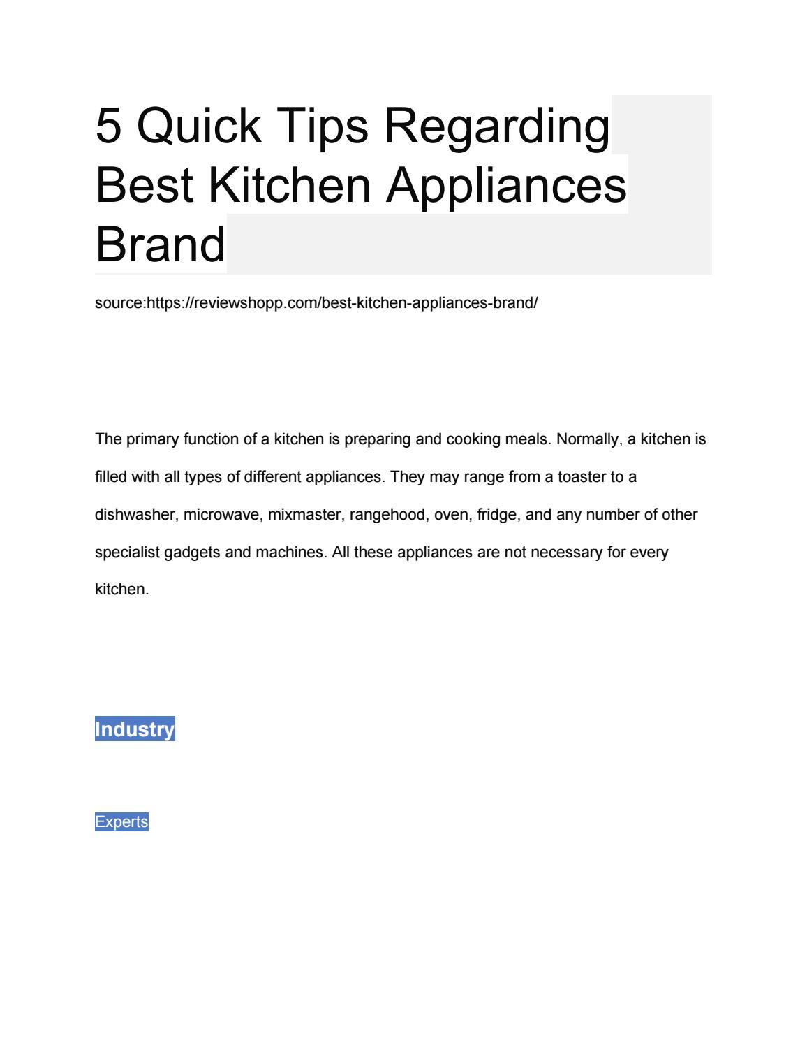 5 quick tips regarding best kitchen appliances brand by ...