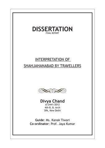 Dissertation Interpretation Of Shahjahanabad By Traveller Divya Chand Issuu Premise Guide