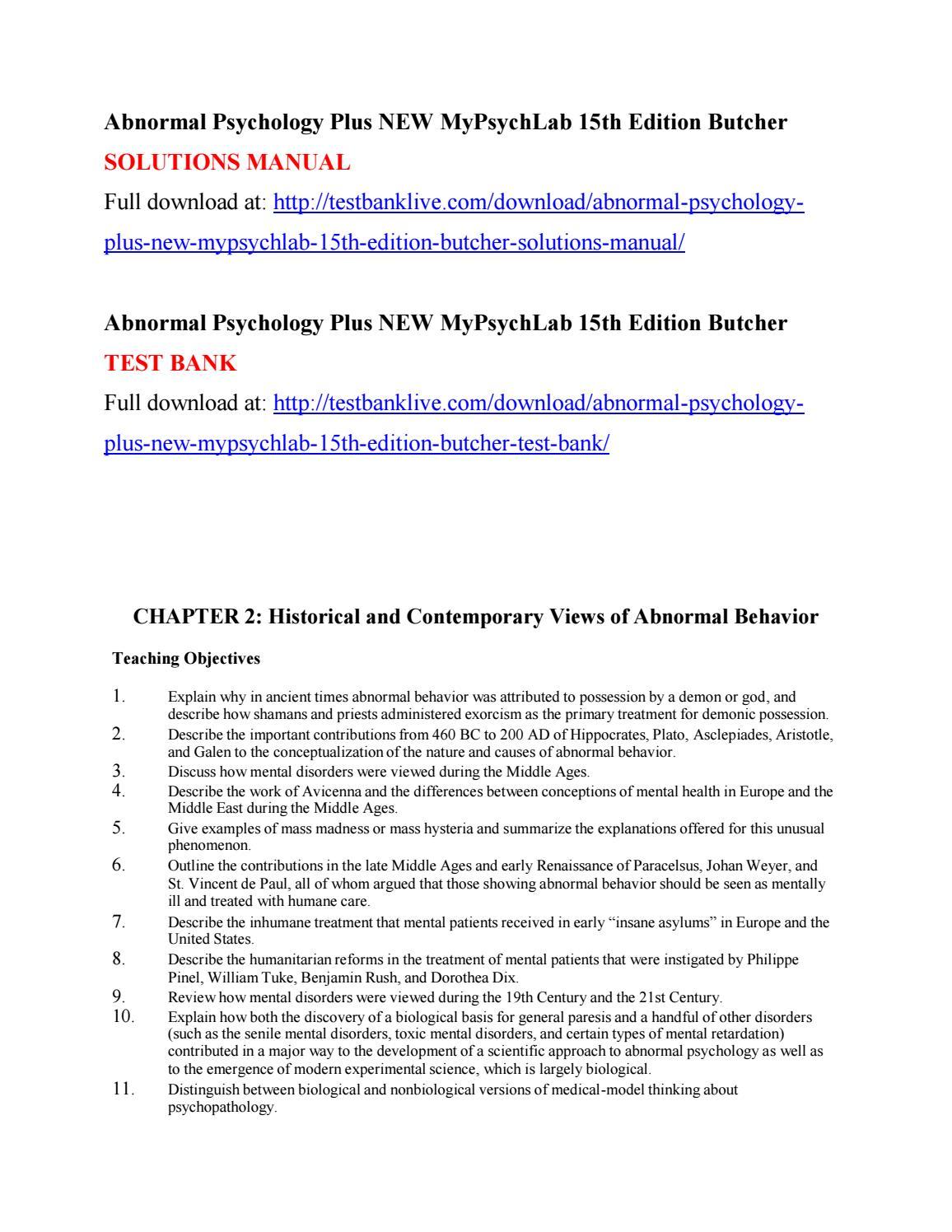 Abnormal psychology plus new mypsychlab 15th edition butcher ...