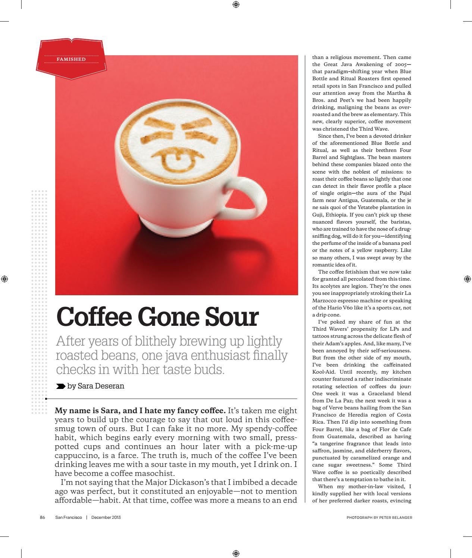Coffee Gone Sour San Francisco Magazine By Sara Deseran Issuu