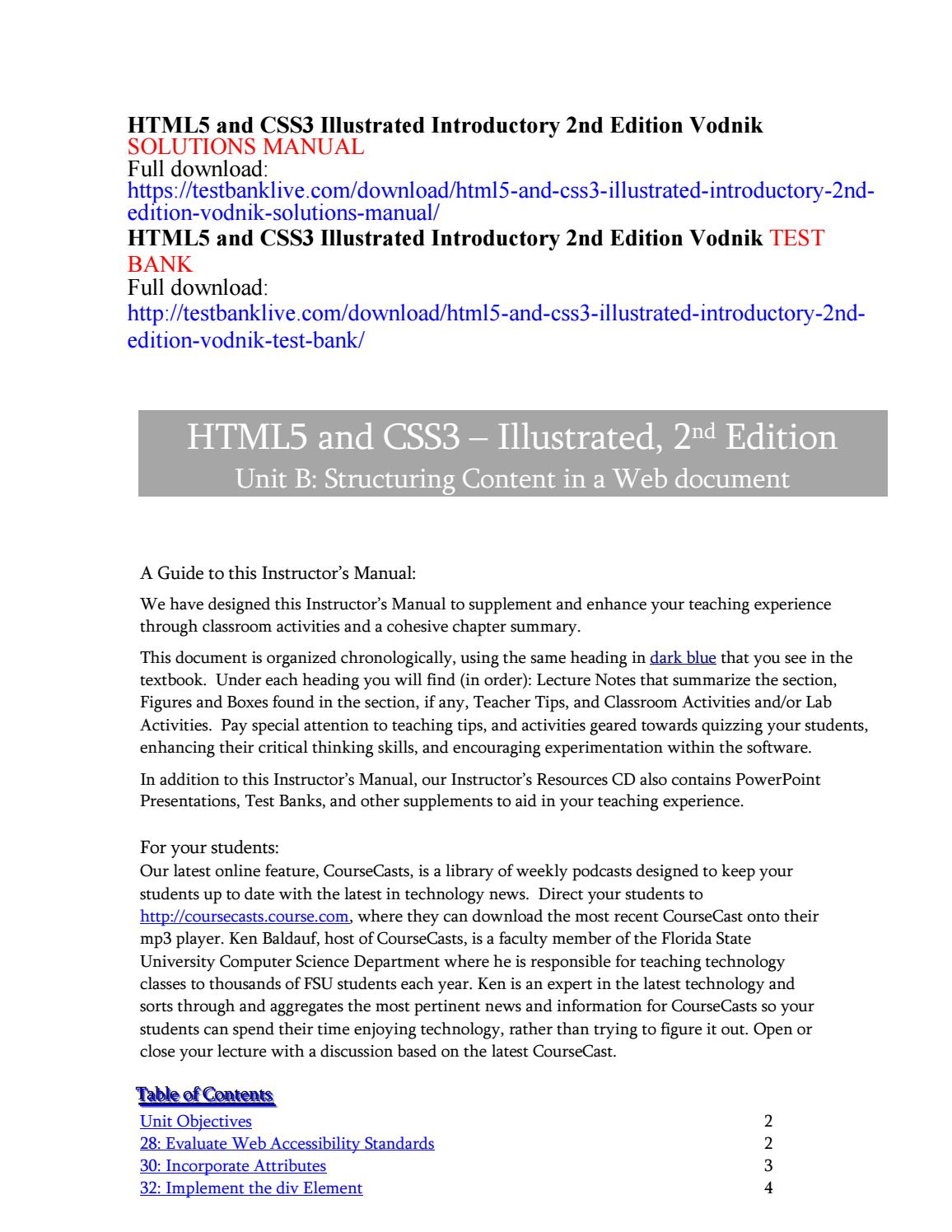 Html5 and css3 illustrated introductory 2nd edition vodnik solutions manual  by GropperMan - issuu