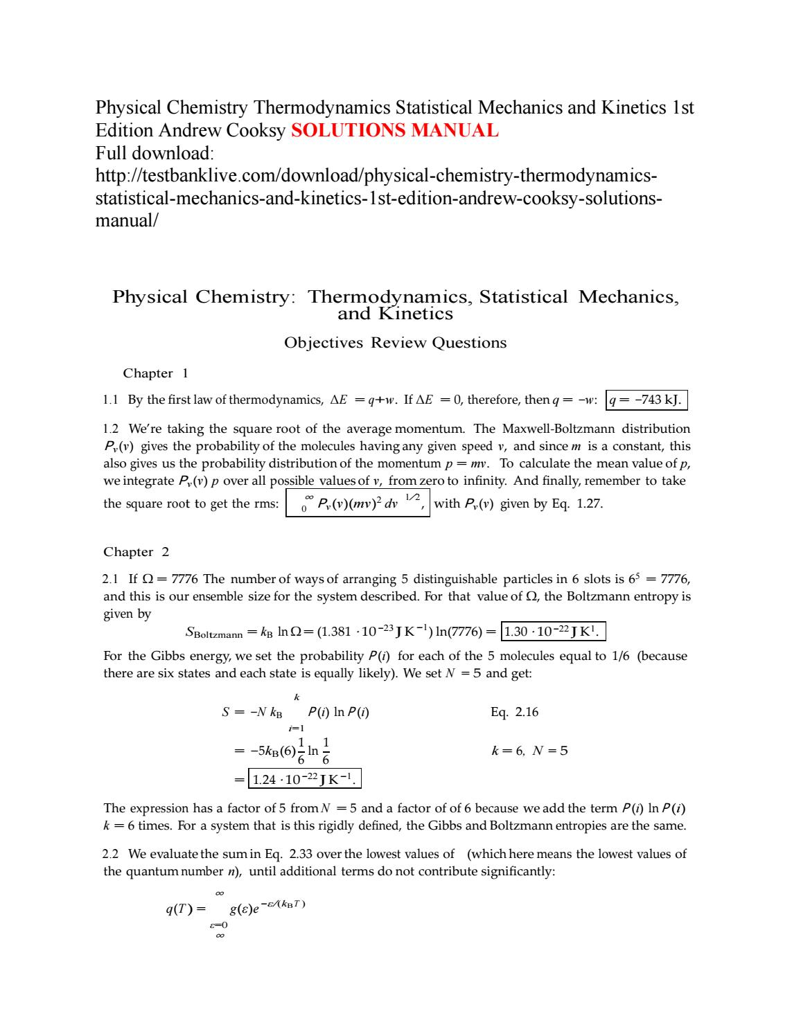 Physical chemistry thermodynamics statistical mechanics and kinetics 1st  edition andrew cooksy solut by Lind111 - issuu