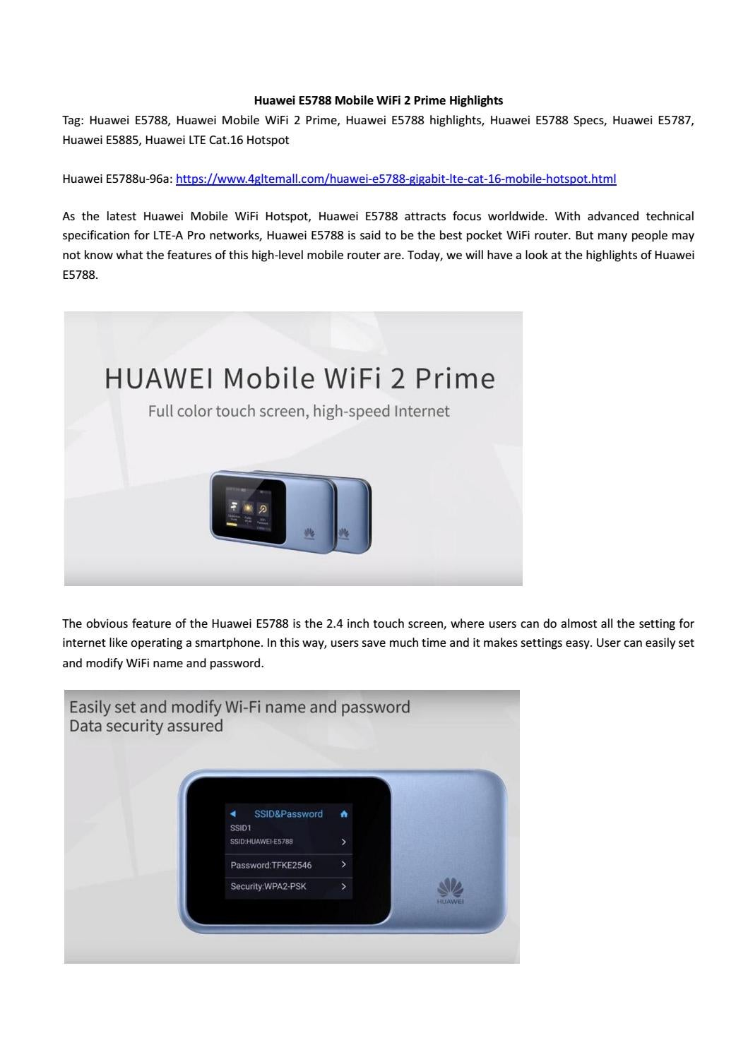 Huawei e5788 mobile wifi 2 prime highlights review by Lte Mall - issuu