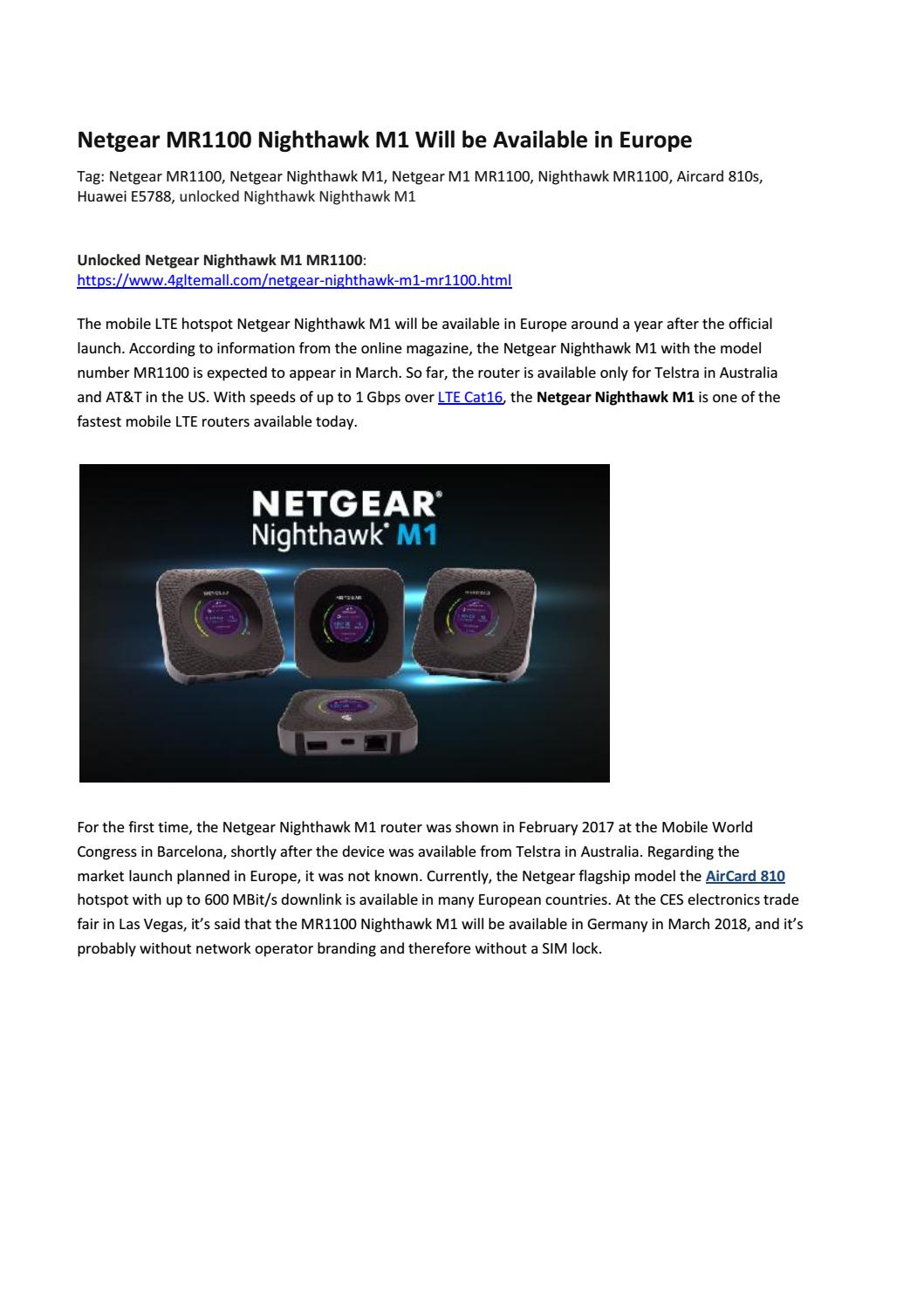 Netgear MR1100 Nighthawk M1 Will be Available in Europe by