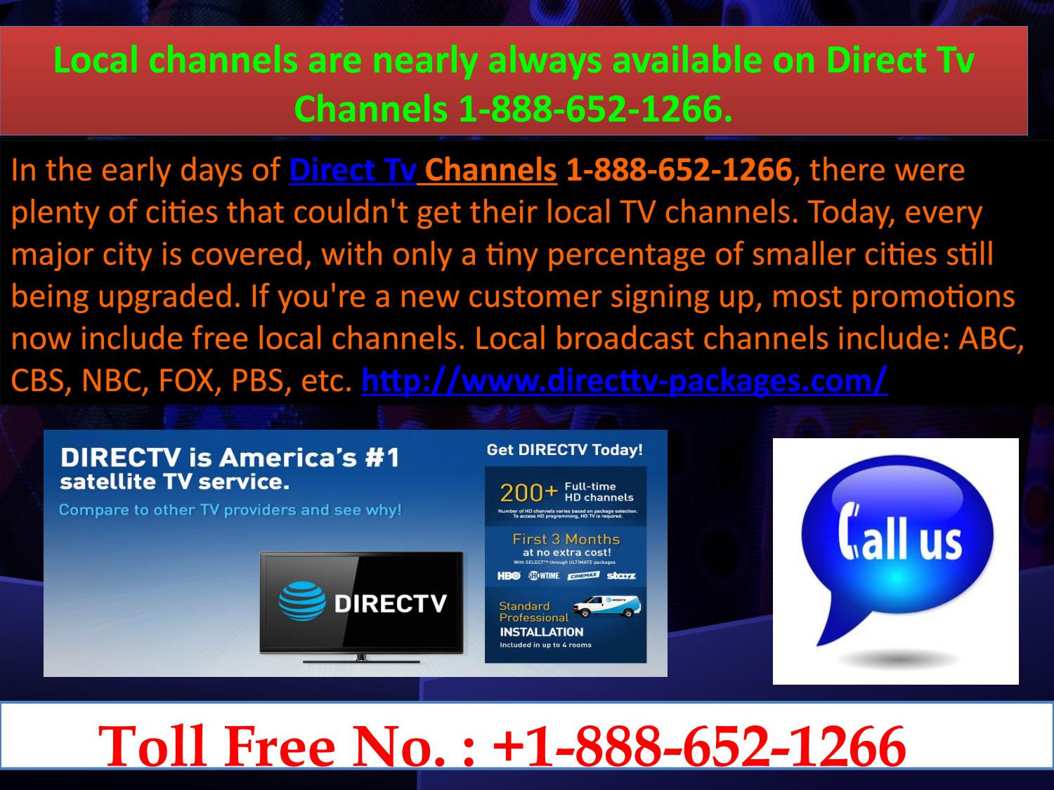 Direct Tv Specials 1-888-652-1266 carries more HD channels