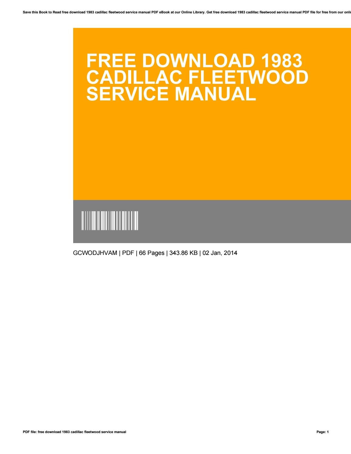 Free online service manuals cadillac.