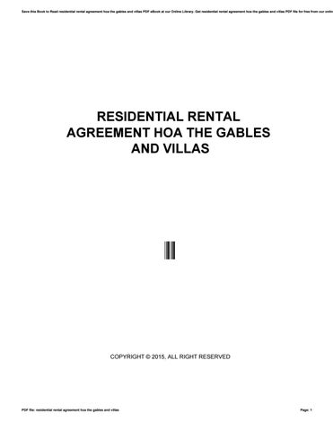 Residential Rental Agreement Hoa The Gables And Villas By Nezzart197