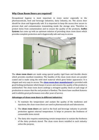 Groovy Why Clean Room Doors Are Required By Issoflexsystems Issuu Home Interior And Landscaping Ferensignezvosmurscom