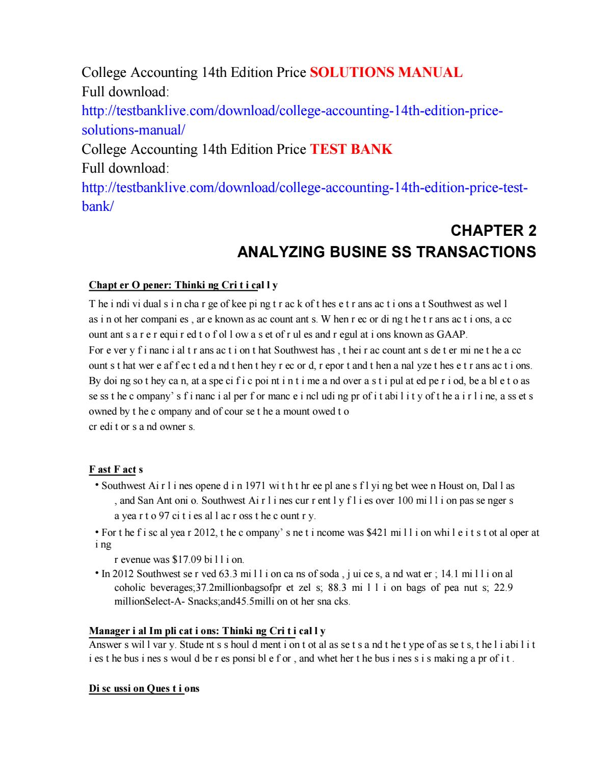 College accounting 14th edition price solutions manual by haohao112 - issuu