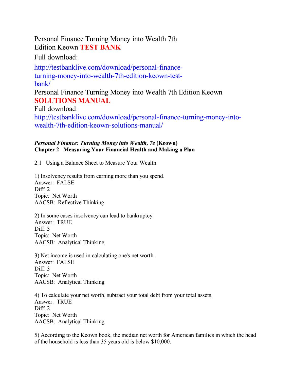 Personal finance turning money into wealth 7th edition keown test bank by  Walker111 - issuu