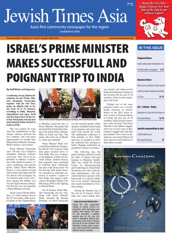 February 2018 O Volume 12 Issue 9 Shevat Adar 5778 By Jewish