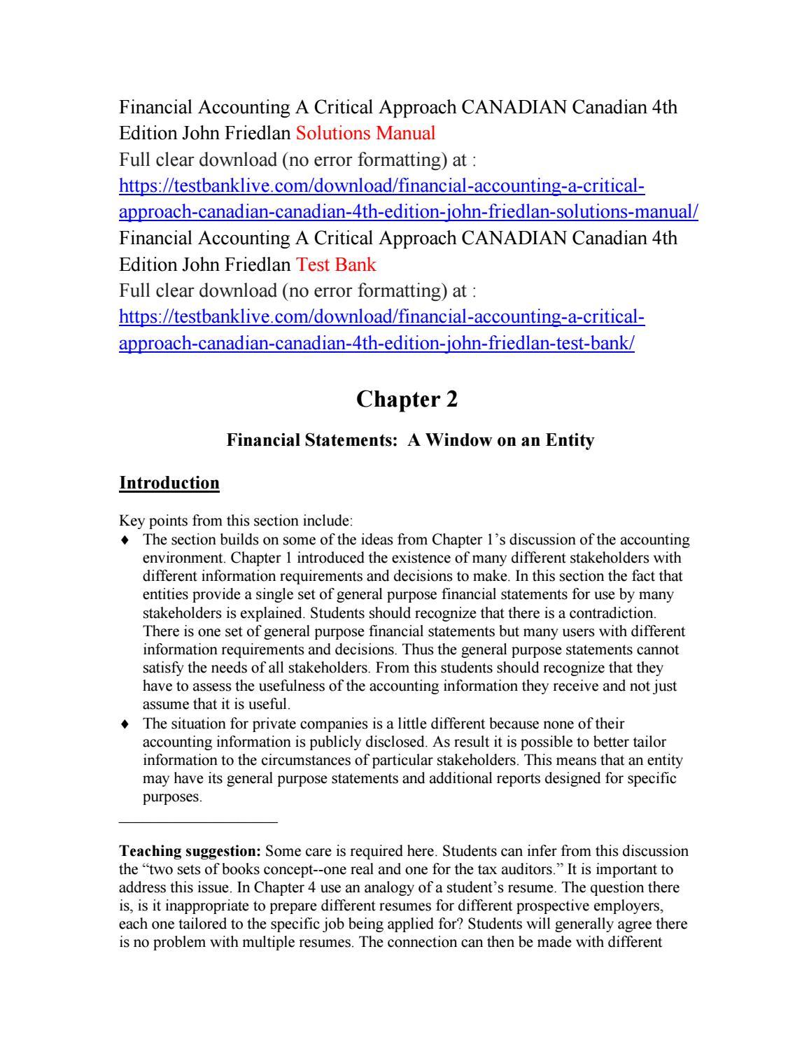 Financial accounting a critical approach canadian canadian 4th edition john  friedlan solutions manua by kingdom488 - issuu
