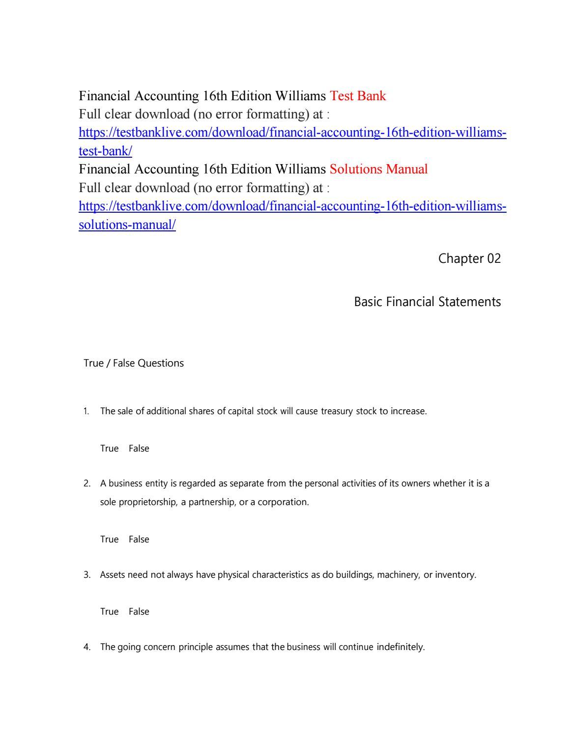 Financial accounting 16th edition williams test bank by kingdom488 - issuu
