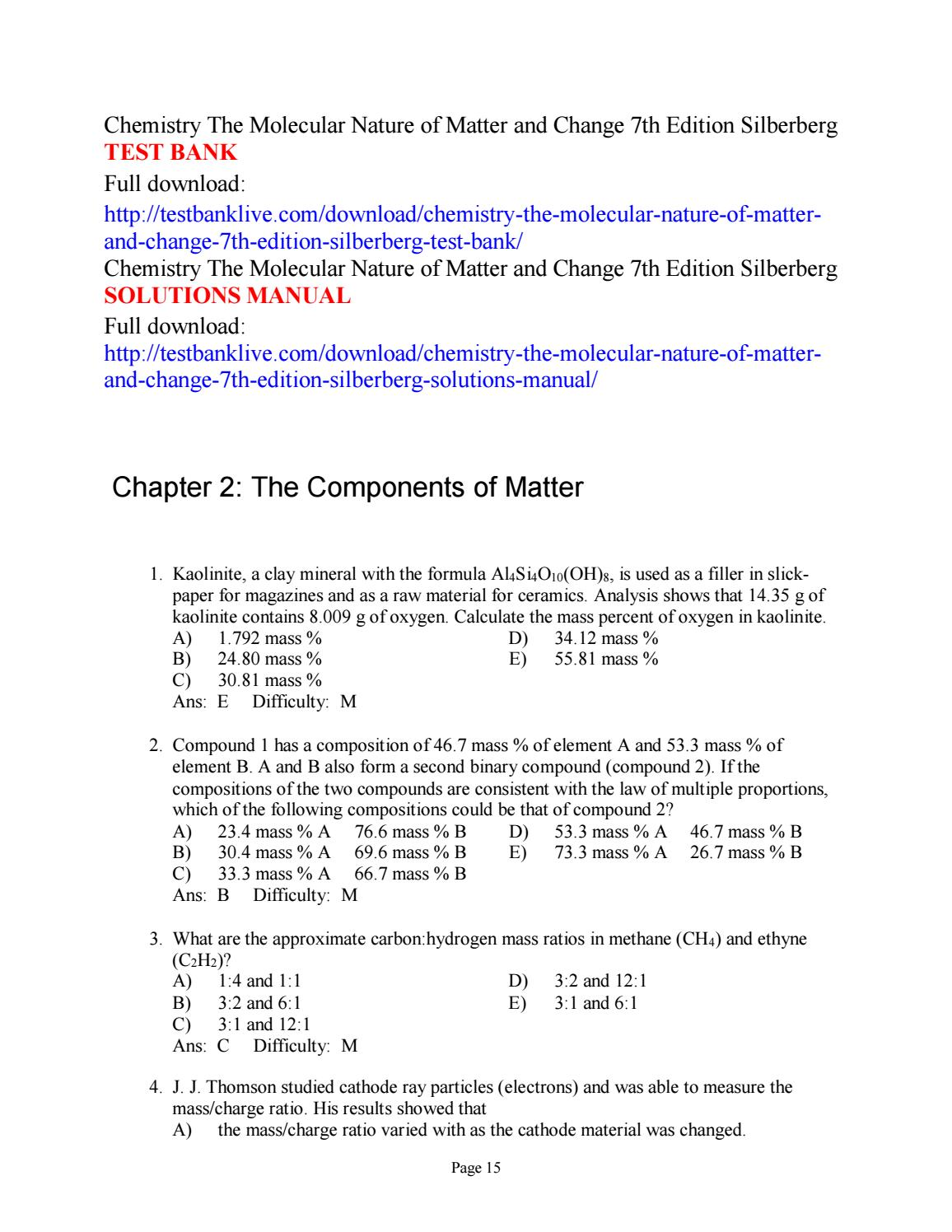 Chemistry the molecular nature of matter and change 7th edition silberberg  test bank by alice112 - issuu