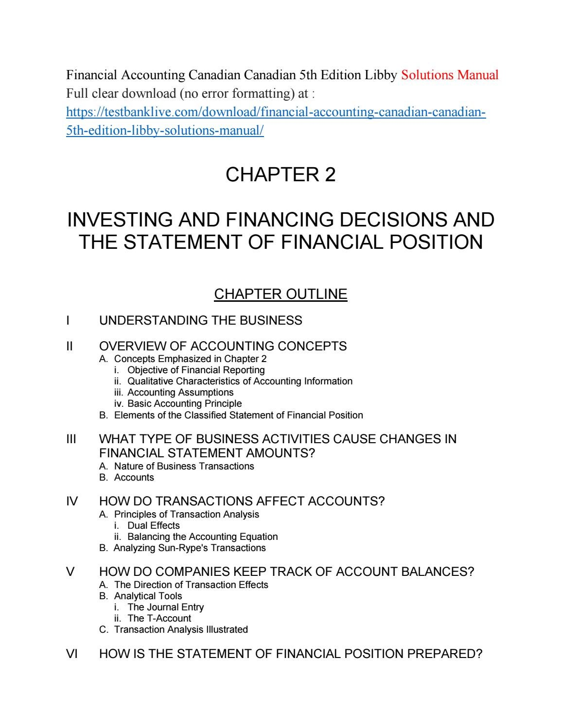 Financial accounting canadian canadian 5th edition libby solutions manual  by kingdom488 - issuu
