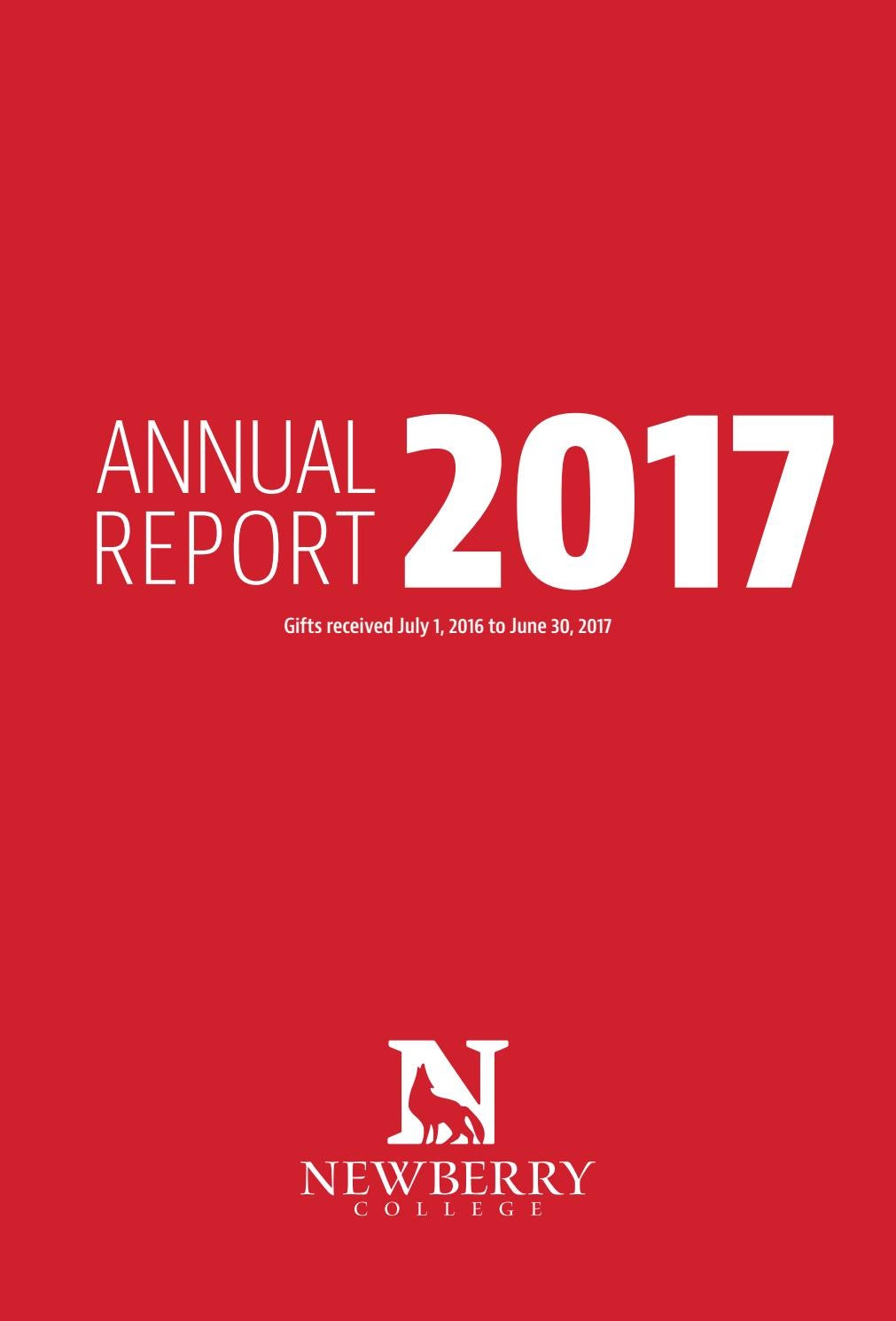 Newberry annual report 2017 issuu by Newberry College - issuu
