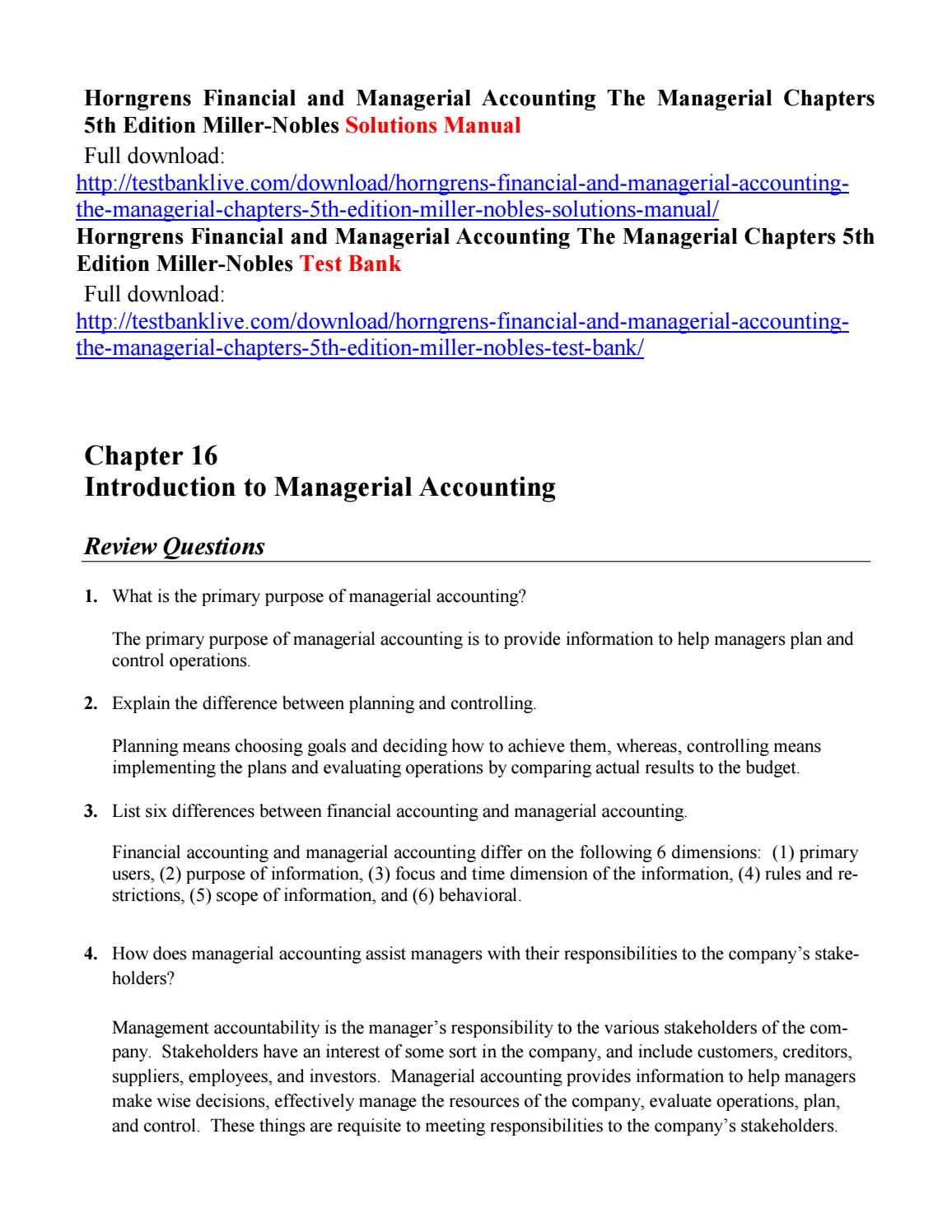 Horngrens financial and managerial accounting the managerial chapters 5th  edition miller nobles solu by lalala111 - issuu