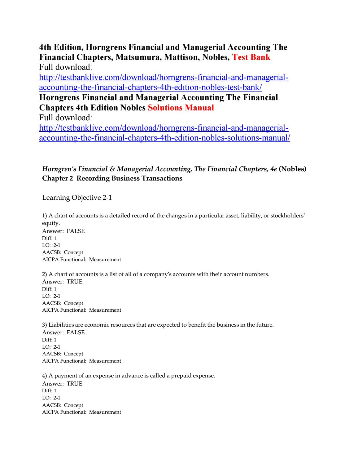 Horngrens financial and managerial accounting the financial chapters 4th  edition nobles test bank by lololo111 - issuu