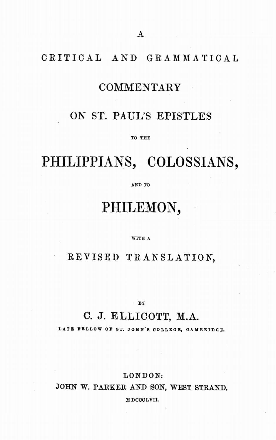 Charles John Ellicott [1819-1905], Commentary on Philippians