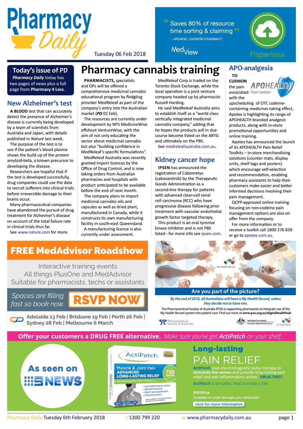 PD for Tue 06 Feb 2018 - Pharmacy cannabis training, Apotex