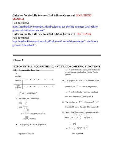 Calculus for the life sciences 2nd edition greenwell