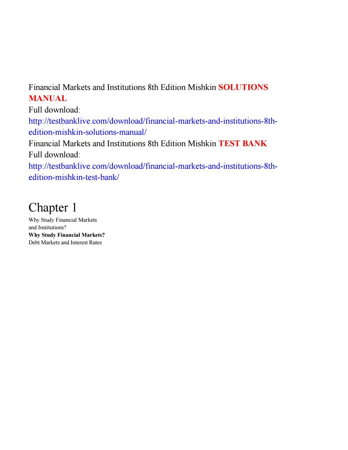 Financial markets and institutions 8th edition mishkin solutions manual by  Brigham333 - issuu