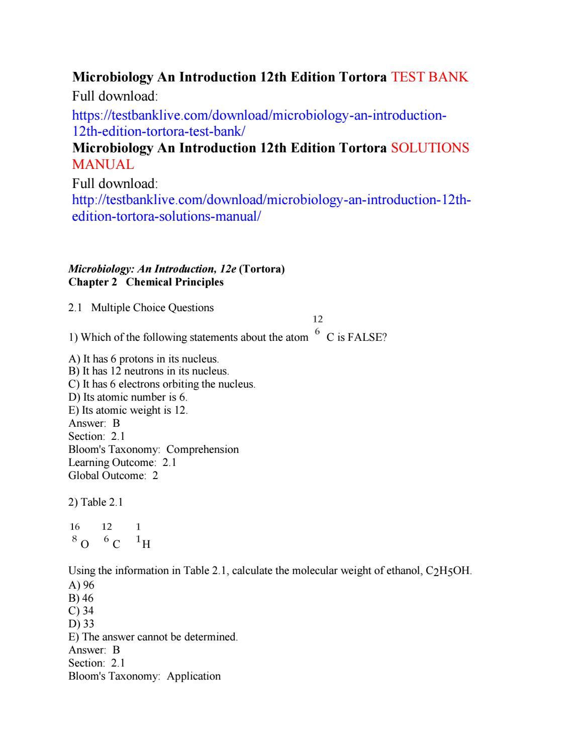 Microbiology an introduction 12th edition tortora test bank by Dugopolski -  issuu
