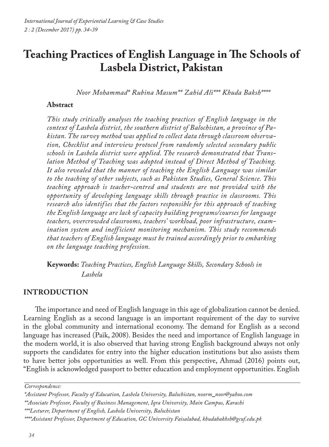 Teaching Practices of English Language in The Schools of