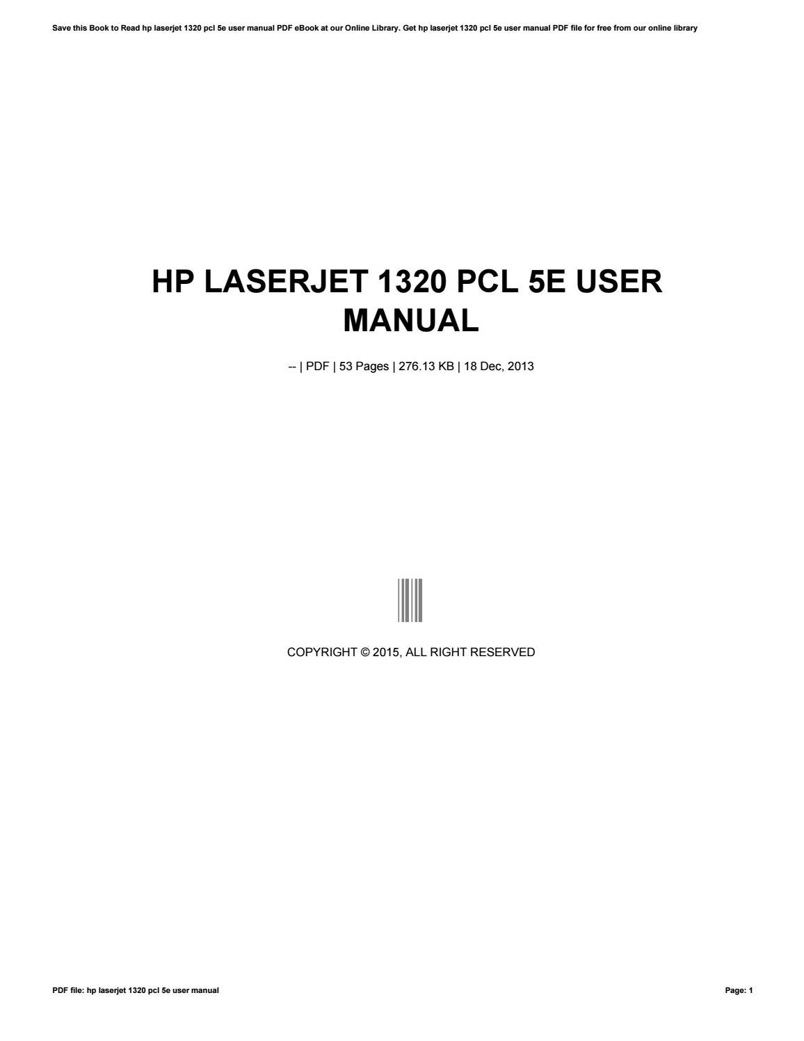 Hp laserjet 1320 pcl 6 user manual by lewisrivera3323 issuu.