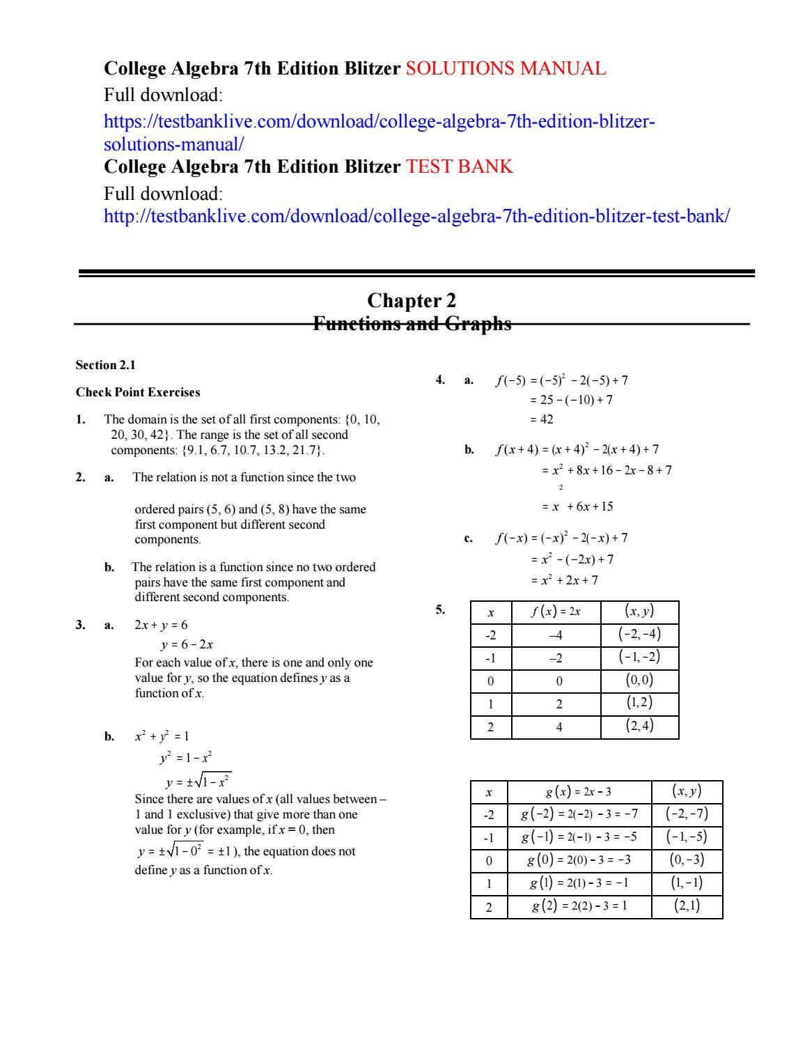 College algebra 7th edition blitzer solutions manual by Tortoradan - issuu