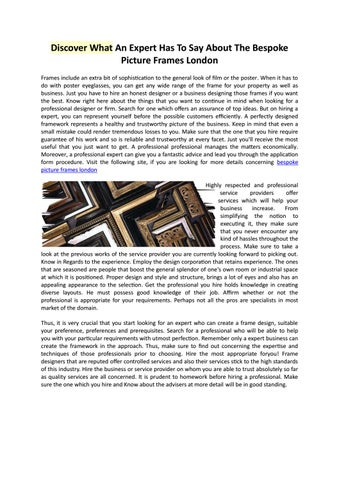 Discover What An Expert Has To Say About Bespoke Picture Frames