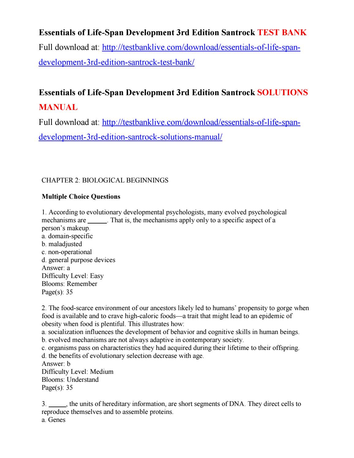 Essentials of life span development 3rd edition santrock test bank by  danisaly - issuu