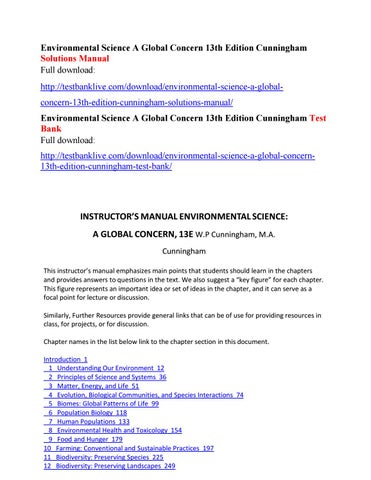 Environmental science a global concern 13th edition