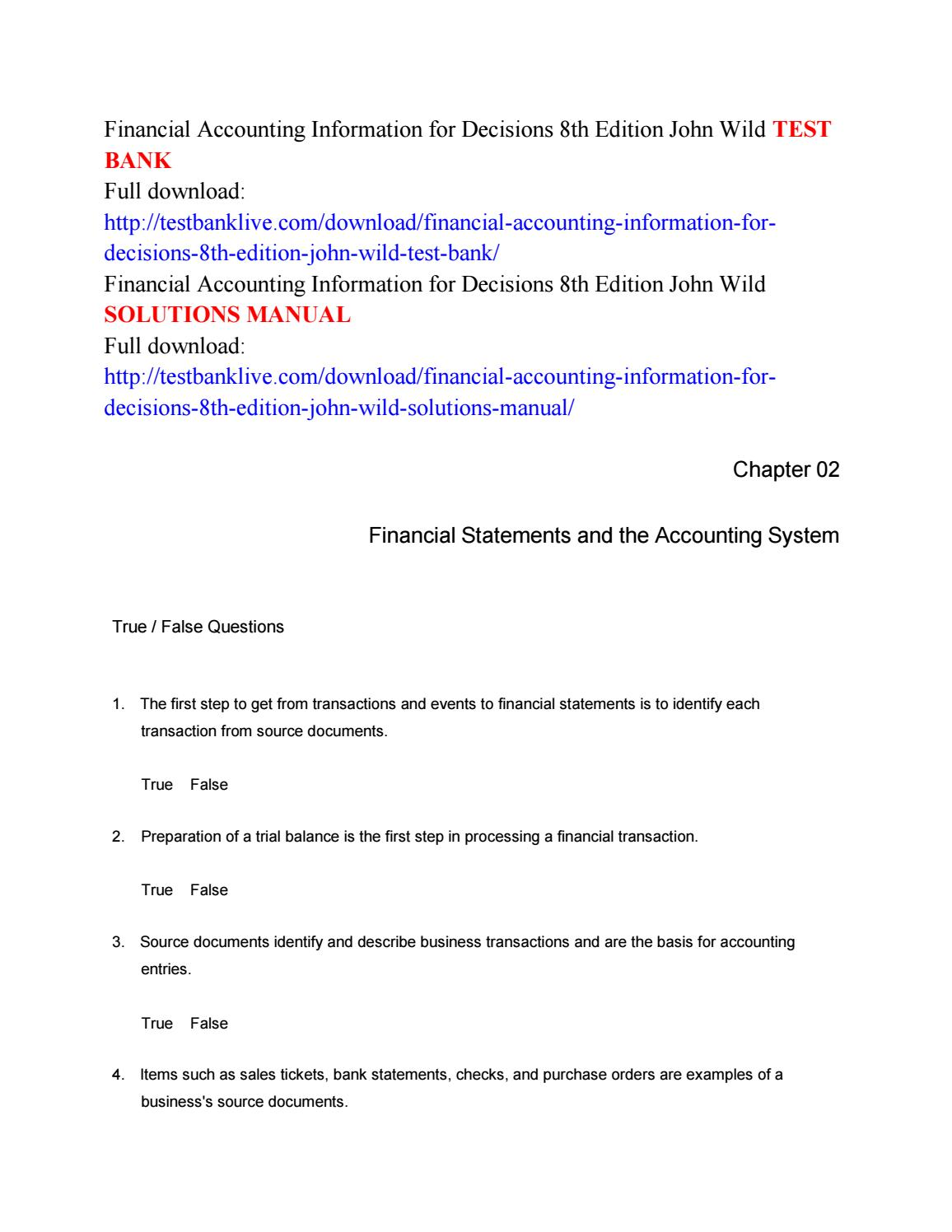Financial accounting information for decisions 8th edition john wild test  bank by Wild444 - issuu