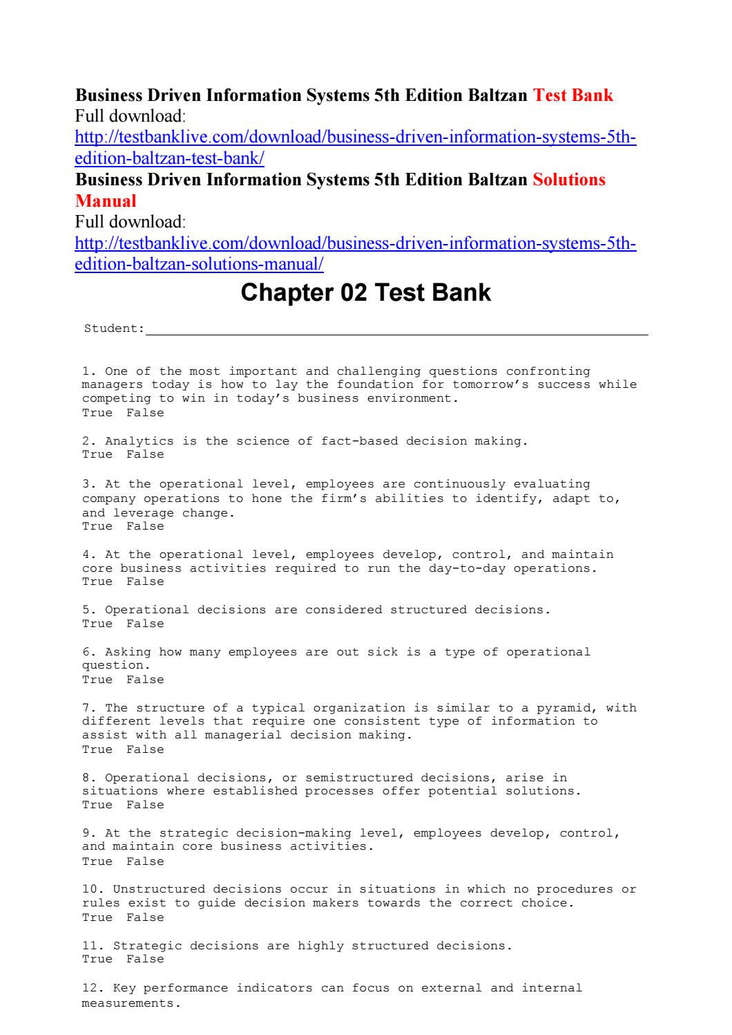 Business driven information systems 5th edition baltzan test bank by  alladin111 - issuu
