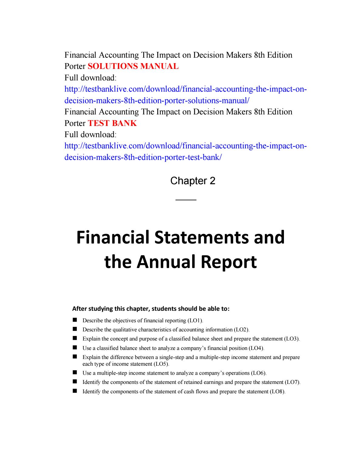 Financial accounting the impact on decision makers 8th edition porter solutions  manual by Wild444 - issuu