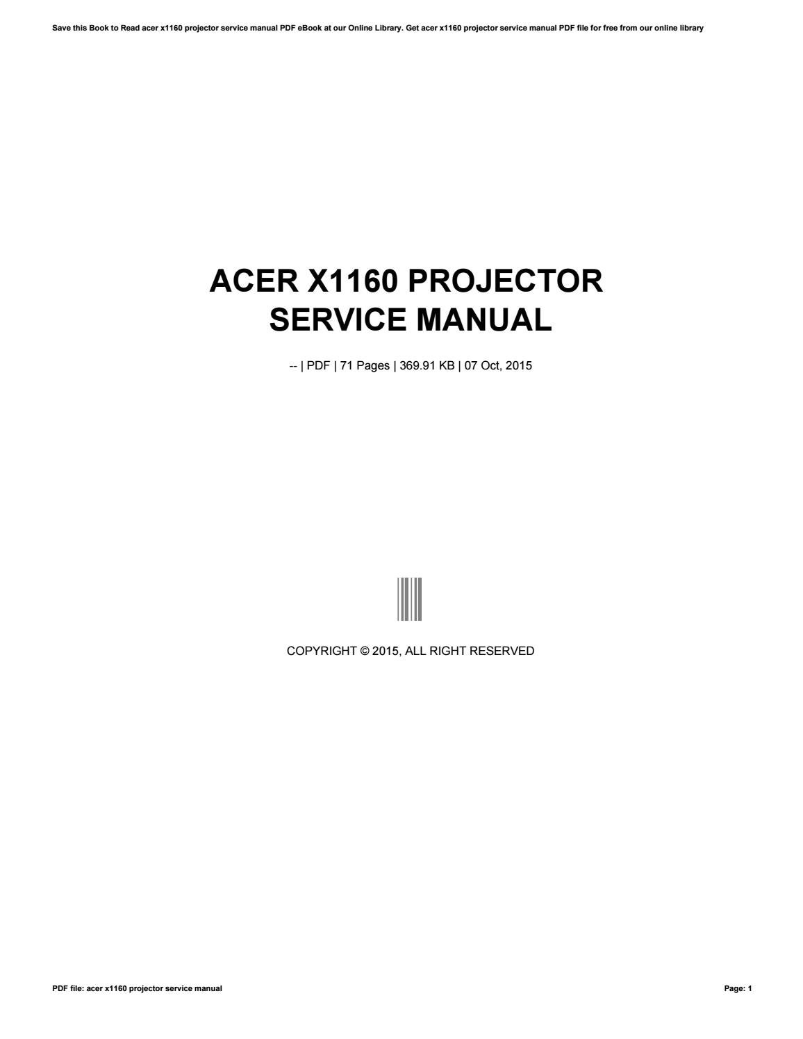 acer x1160 projector service manual by ty499 issuu rh issuu com acer x1160z service manual Acer Aspire V5 User Manual