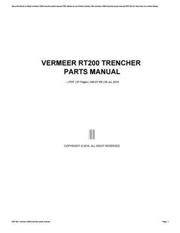 vermeer rt200 trencher parts manual by drivetagdev29 issuu rh issuu com Vermeer Parts 2050 RT200 Vermeer Portabore