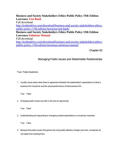 Business and society stakeholders ethics public policy 15th