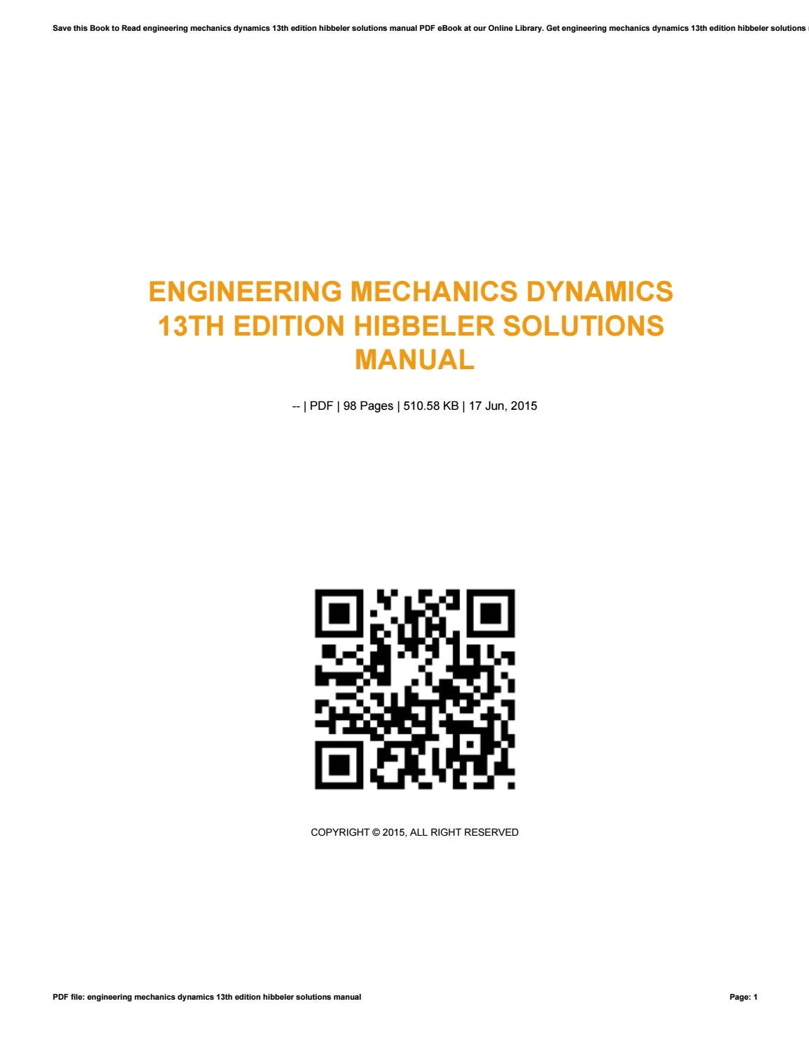 Engineering mechanics dynamics 13th edition hibbeler solutions manual by  vssms147 - issuu