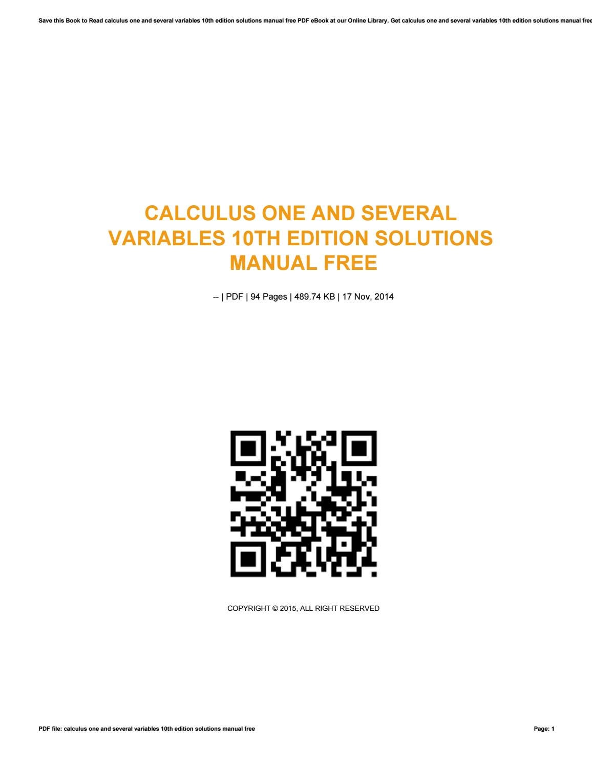 Calculus one and several variables 10th edition solutions manual free by  vssms147 - issuu