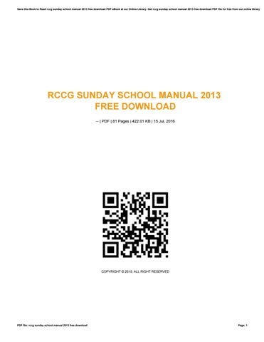 Rccg Sunday School Manual 2015 Pdf