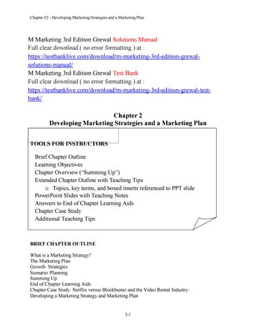 M marketing 3rd edition grewal solutions manual by bella6562 issuu chapter 02 developing marketing strategies and a marketing plan m marketing 3rd edition grewal fandeluxe Choice Image