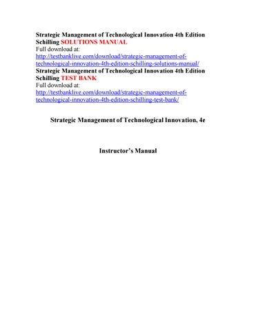 Strategic management of technological innovation 4th edition strategic management of technological innovation 4th edition schilling solutions manual full download at fandeluxe Gallery