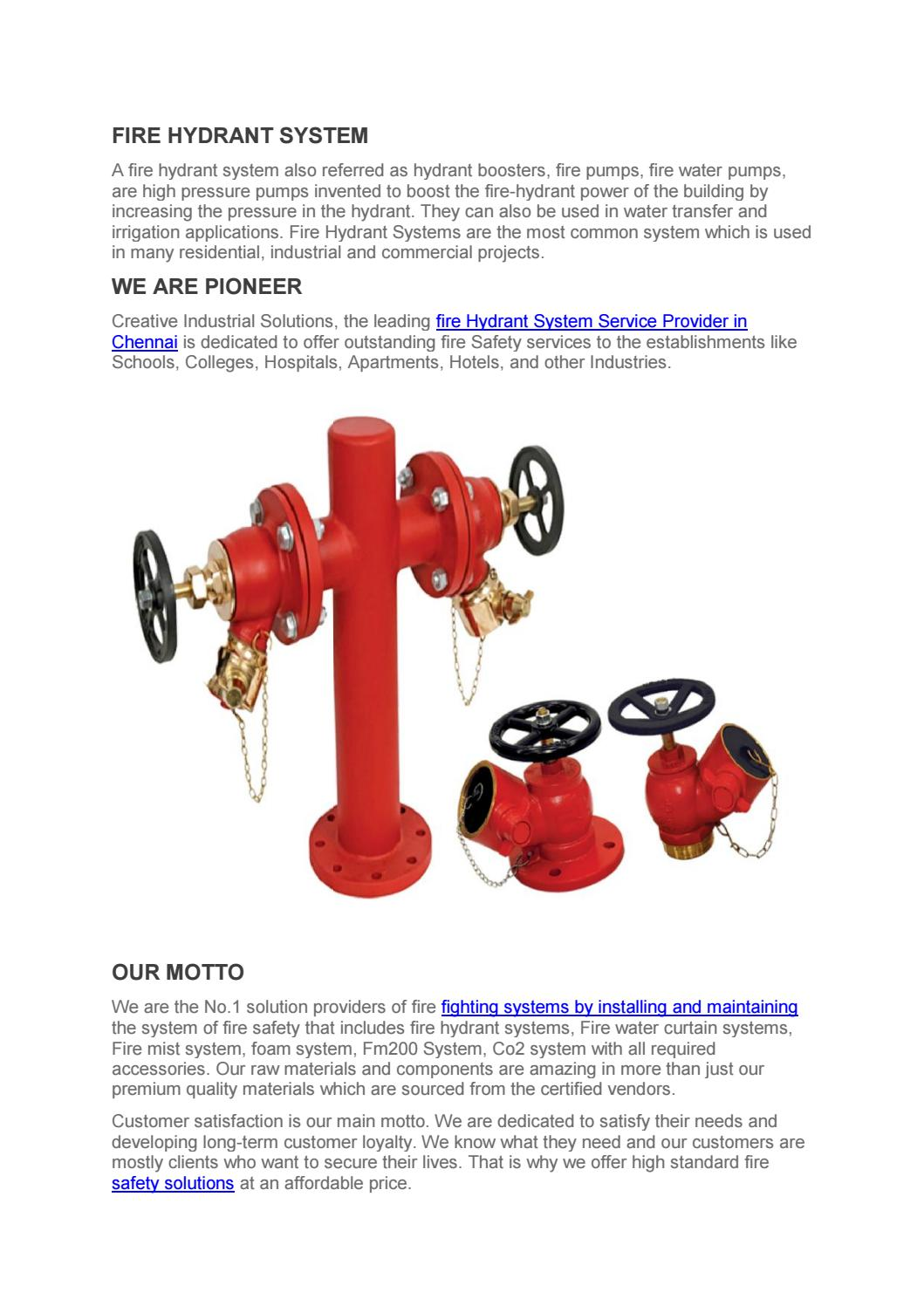 Fire hydrant system installation service by
