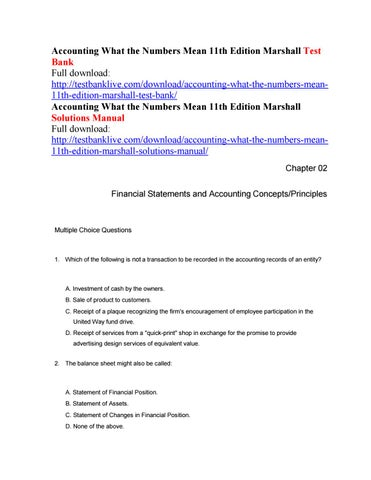 Foundations of financial management 16th edition test bank block accounting what the numbers mean 11th edition marshall test bank fandeluxe Gallery